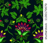 embroidery of fantasy flowers....   Shutterstock .eps vector #1130170070