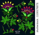 embroidery of fantasy flowers....   Shutterstock .eps vector #1130170073