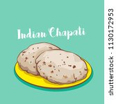 indian traditional chapati or... | Shutterstock .eps vector #1130172953