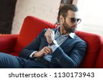 young bearded stylish...   Shutterstock . vector #1130173943