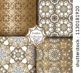 set of gold floral seamless... | Shutterstock .eps vector #1130181920
