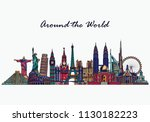hand drawn world famous... | Shutterstock .eps vector #1130182223