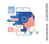 voice assistant  mobile app ... | Shutterstock .eps vector #1130184206