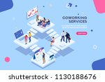 coworkers office concept with... | Shutterstock . vector #1130188676