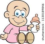 cartoon illustration of a baby... | Shutterstock . vector #1130189846
