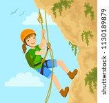 girl rappels down the mountain...   Shutterstock .eps vector #1130189879
