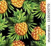 pineapples with palm tropical... | Shutterstock .eps vector #1130193770