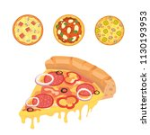 thinly sliced pepperoni is a... | Shutterstock . vector #1130193953