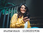 portrait of young positive girl ... | Shutterstock . vector #1130201936