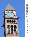 Stock photo city hall tower clock toronto ontario 113020234