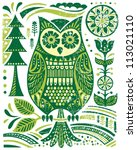 ornate woodblock style owl | Shutterstock .eps vector #113021110