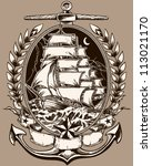 tattoo style pirate ship in... | Shutterstock .eps vector #113021170