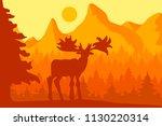 elk in the morning coniferous... | Shutterstock .eps vector #1130220314