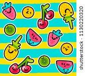vector summer fruits patterns... | Shutterstock .eps vector #1130220320