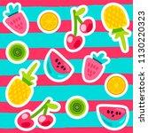 vector summer fruits patterns... | Shutterstock .eps vector #1130220323
