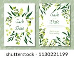 wedding invitation frames with... | Shutterstock .eps vector #1130221199