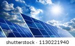 two large solar panels under... | Shutterstock . vector #1130221940