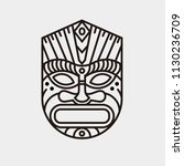 tiki mask illustration line art | Shutterstock .eps vector #1130236709