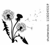 silhouette of a dandelion with... | Shutterstock .eps vector #1130245319