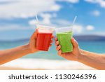 healthy juice smoothie drinking ... | Shutterstock . vector #1130246396