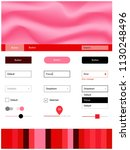 light red vector ui ux kit with ...
