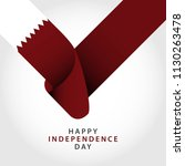 happy qatar independence day... | Shutterstock .eps vector #1130263478