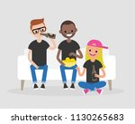 young adults gathering together ... | Shutterstock .eps vector #1130265683