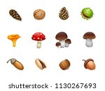 vector set of forest mushroom... | Shutterstock .eps vector #1130267693