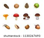 forest mushroom nut acorn cones   Shutterstock .eps vector #1130267693