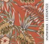 jungle vintage flowers hibiscus ... | Shutterstock .eps vector #1130269223