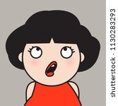 woman looks up with surprised... | Shutterstock .eps vector #1130283293