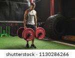 young muscular sportsman doing...   Shutterstock . vector #1130286266