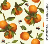 vector citrus seamless pattern... | Shutterstock .eps vector #1130286380