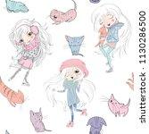 vector sketch style seamless... | Shutterstock .eps vector #1130286500