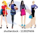 young women in beautiful... | Shutterstock .eps vector #113029606