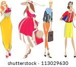 young women in beautiful... | Shutterstock .eps vector #113029630