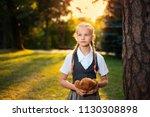 portrait of schoolgirl with... | Shutterstock . vector #1130308898