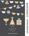 retro styled happy birthday...   Shutterstock .eps vector #1130322698