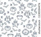 halloween seamless patten with...   Shutterstock .eps vector #1130334476