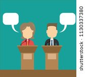 two speakers debate. political... | Shutterstock .eps vector #1130337380