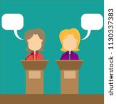 two speakers debate. political... | Shutterstock .eps vector #1130337383