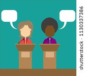 two speakers debate. political... | Shutterstock .eps vector #1130337386