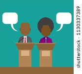 two speakers debate. political... | Shutterstock .eps vector #1130337389