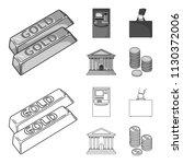 gold bars  atm  bank building ... | Shutterstock .eps vector #1130372006