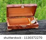box of mahogany wawona handmade ... | Shutterstock . vector #1130372270
