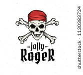 jolly roger with red bandana...   Shutterstock .eps vector #1130383724