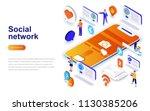 social network modern flat... | Shutterstock .eps vector #1130385206