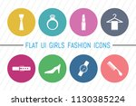 flat ui 8 color girls fashion... | Shutterstock .eps vector #1130385224
