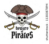 jolly roger with captain's hat...   Shutterstock .eps vector #1130387894