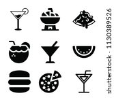 filled set of 9 food icons such ... | Shutterstock .eps vector #1130389526